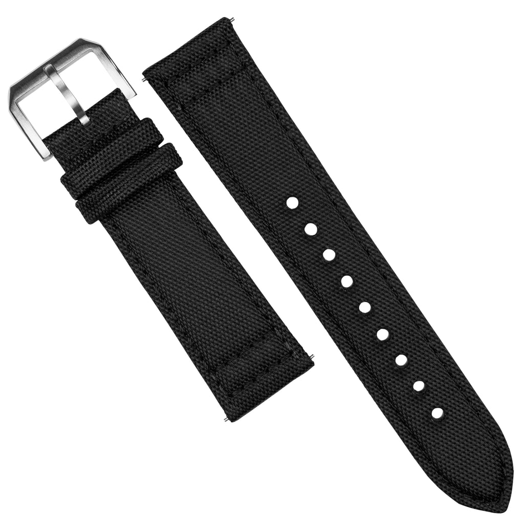 Sailcloth Strap in Black w/ Black stitching (20mm)