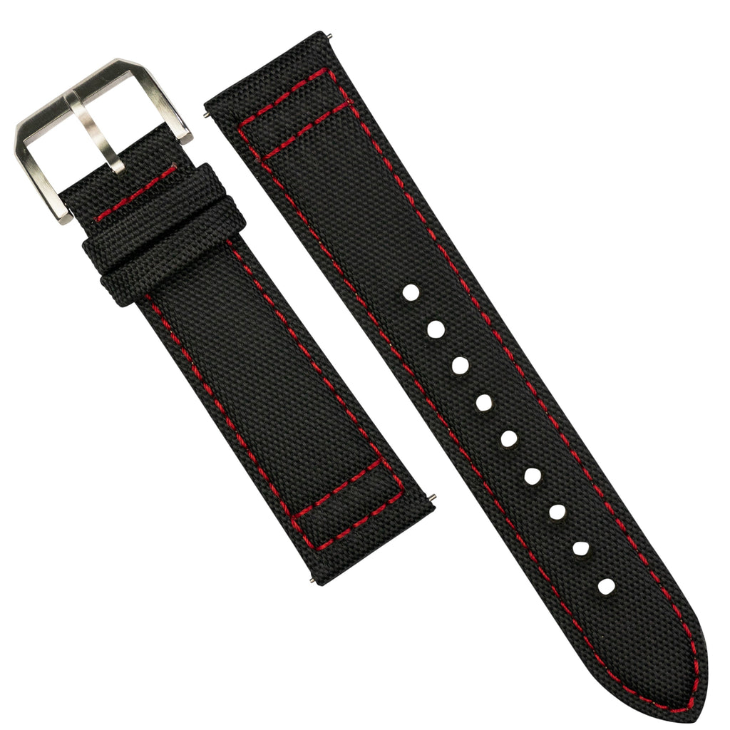 Sailcloth Strap in Black w/ Red stitching (20mm)