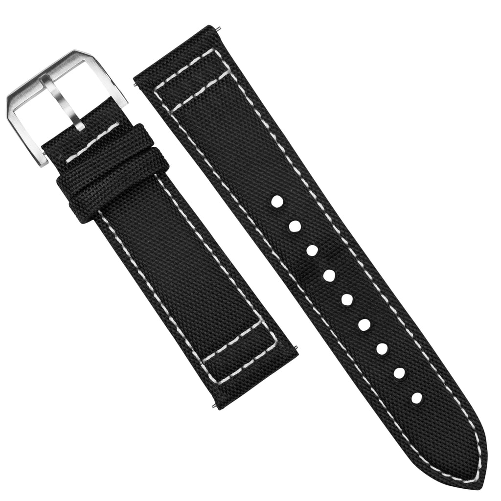 Sailcloth Strap in Black w/ White stitching (20mm)