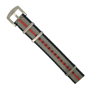Seat Belt Nato Strap in Black Grey Red with Brushed Silver Buckle (20mm)
