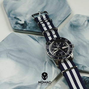 Premium Nato Strap in Navy White Small Stripes with Polished Silver Buckle (22mm)