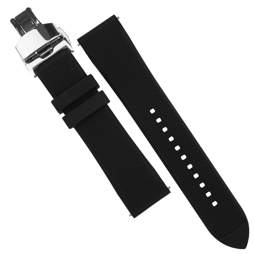 Silicone Rubber Strap w/ Butterfly Clasp in Black (20mm)