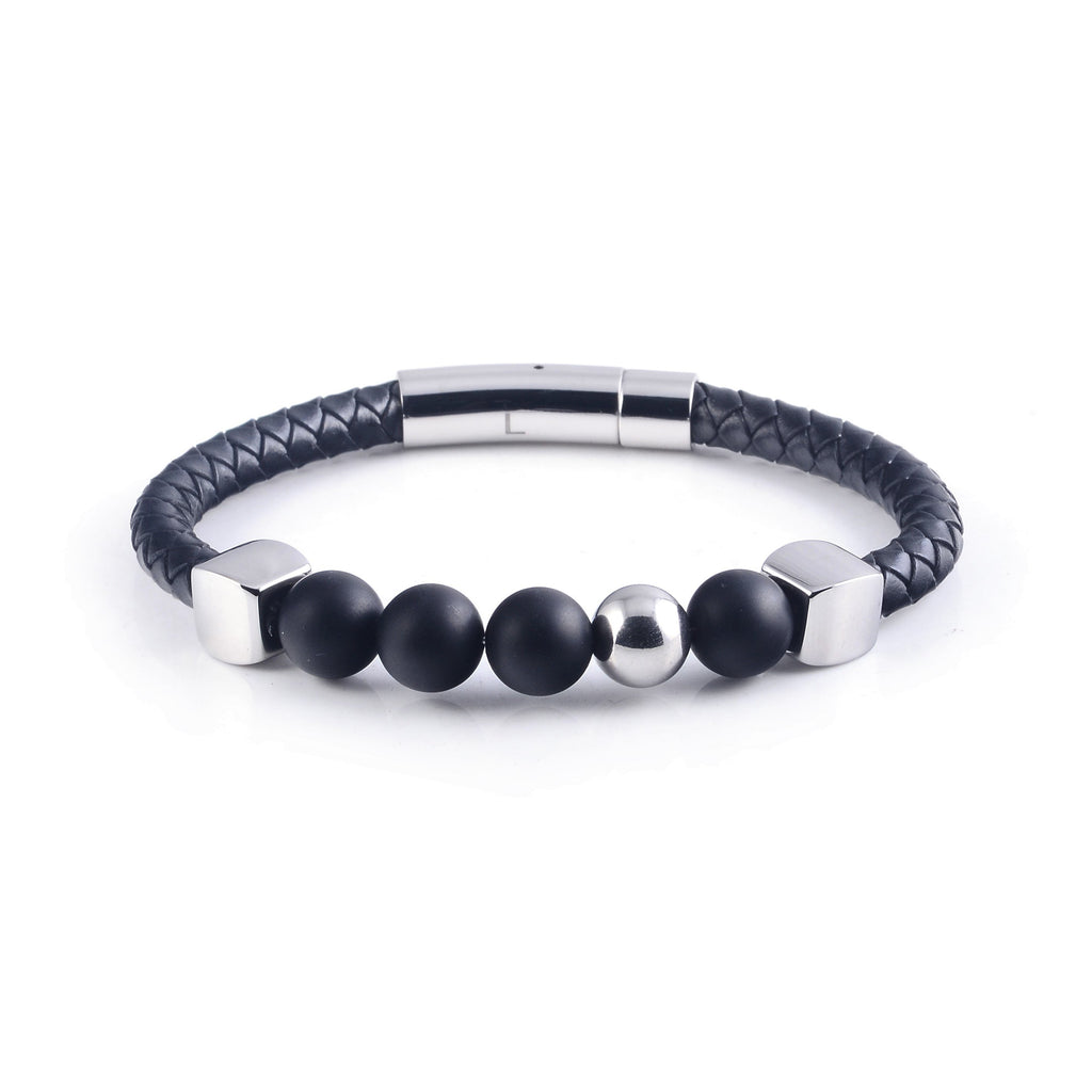 Lava Leather Bracelet in Silver (Size S)