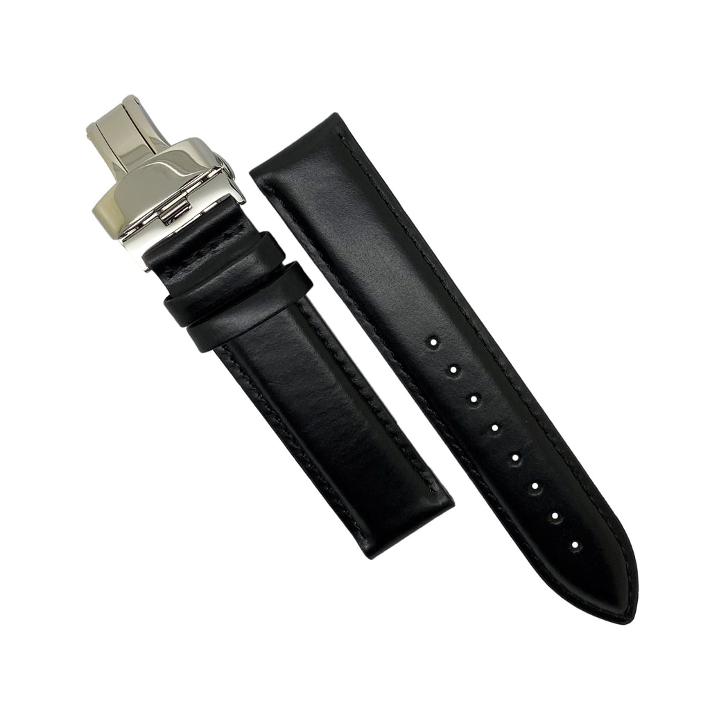 Genuine Smooth Leather Watch Strap in Black w/ Butterfly Clasp (22mm)