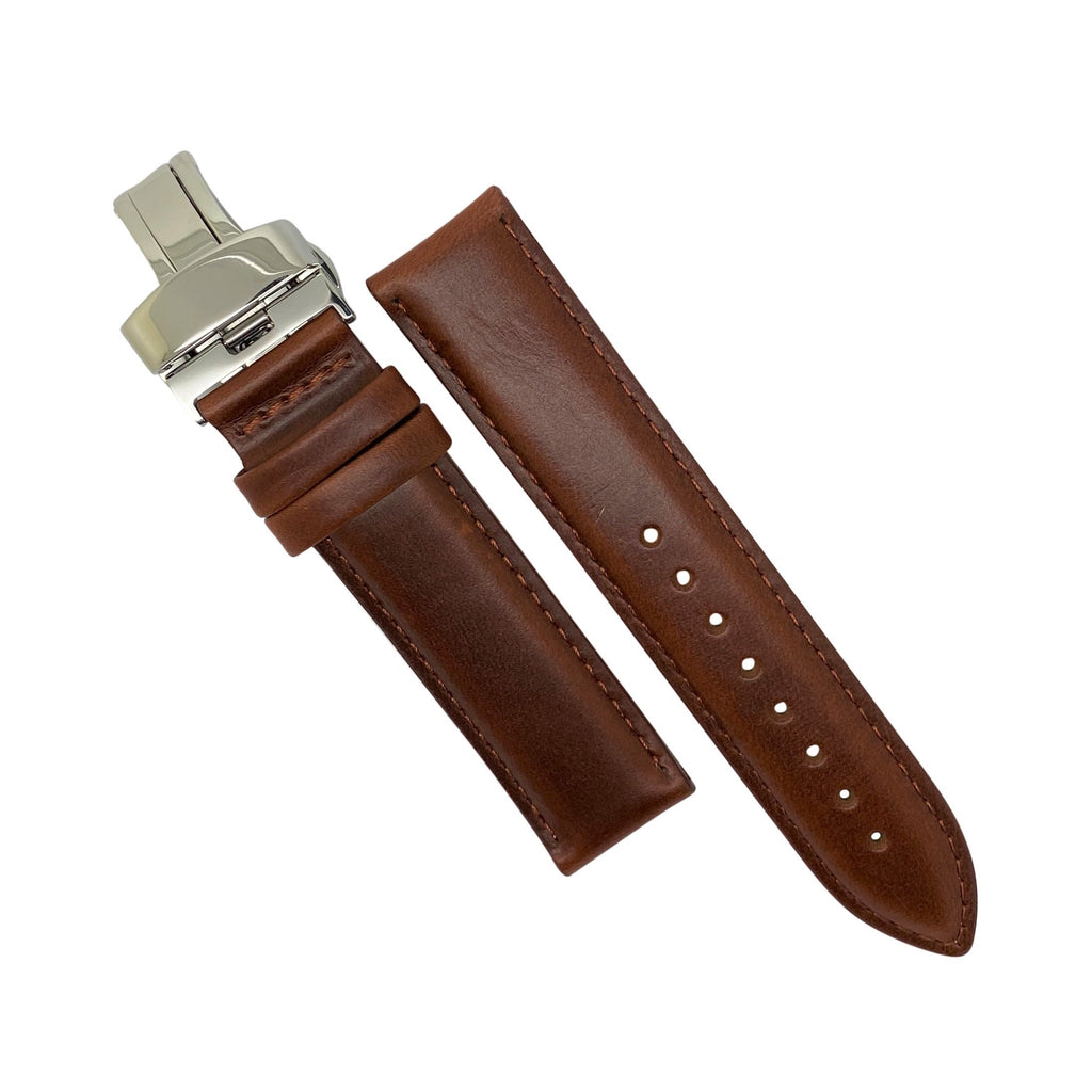 Genuine Smooth Leather Watch Strap in Tan w/ Butterfly Clasp (22mm)