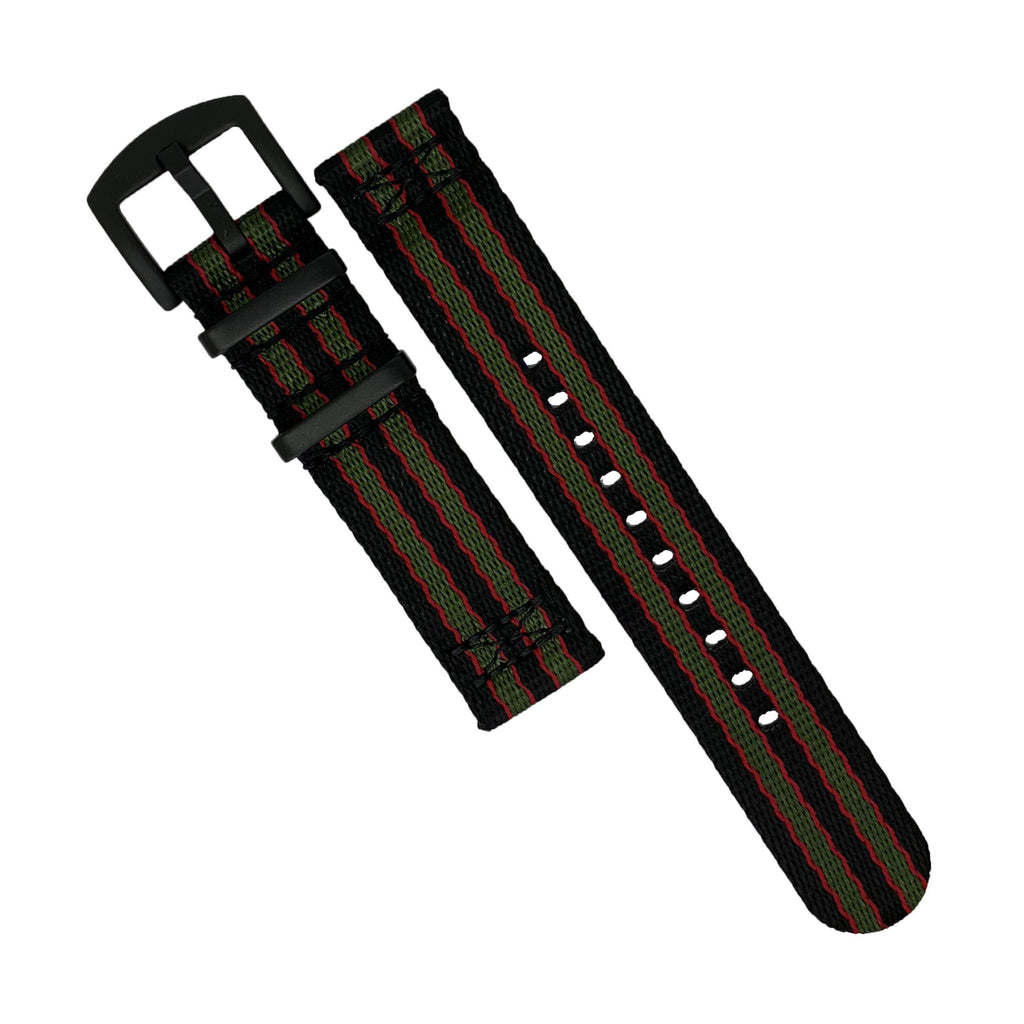 Two Piece Seat Belt Nato Strap in Black Green Red (James Bond) with Black Buckle (22mm)