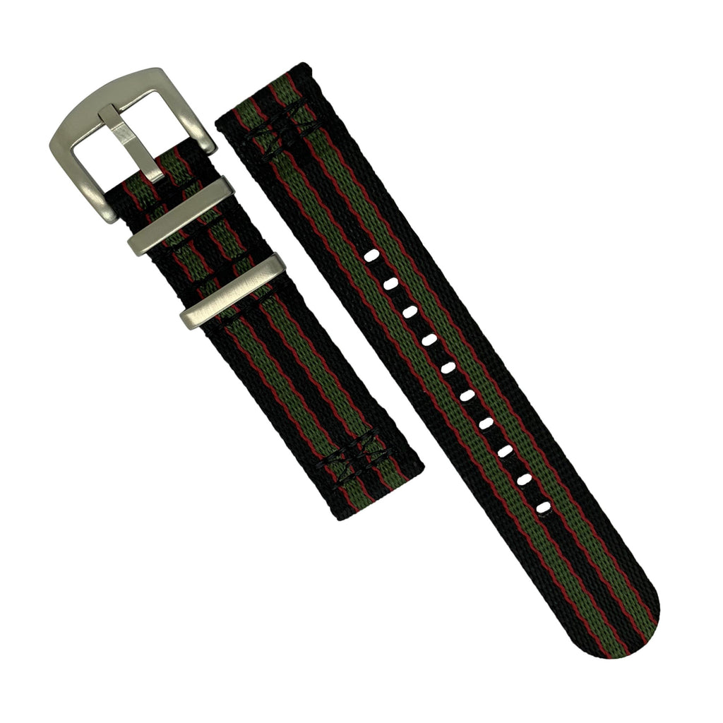 Two Piece Seat Belt Nato Strap in Black Green Red (James Bond) with Brushed Silver Buckle (22mm)