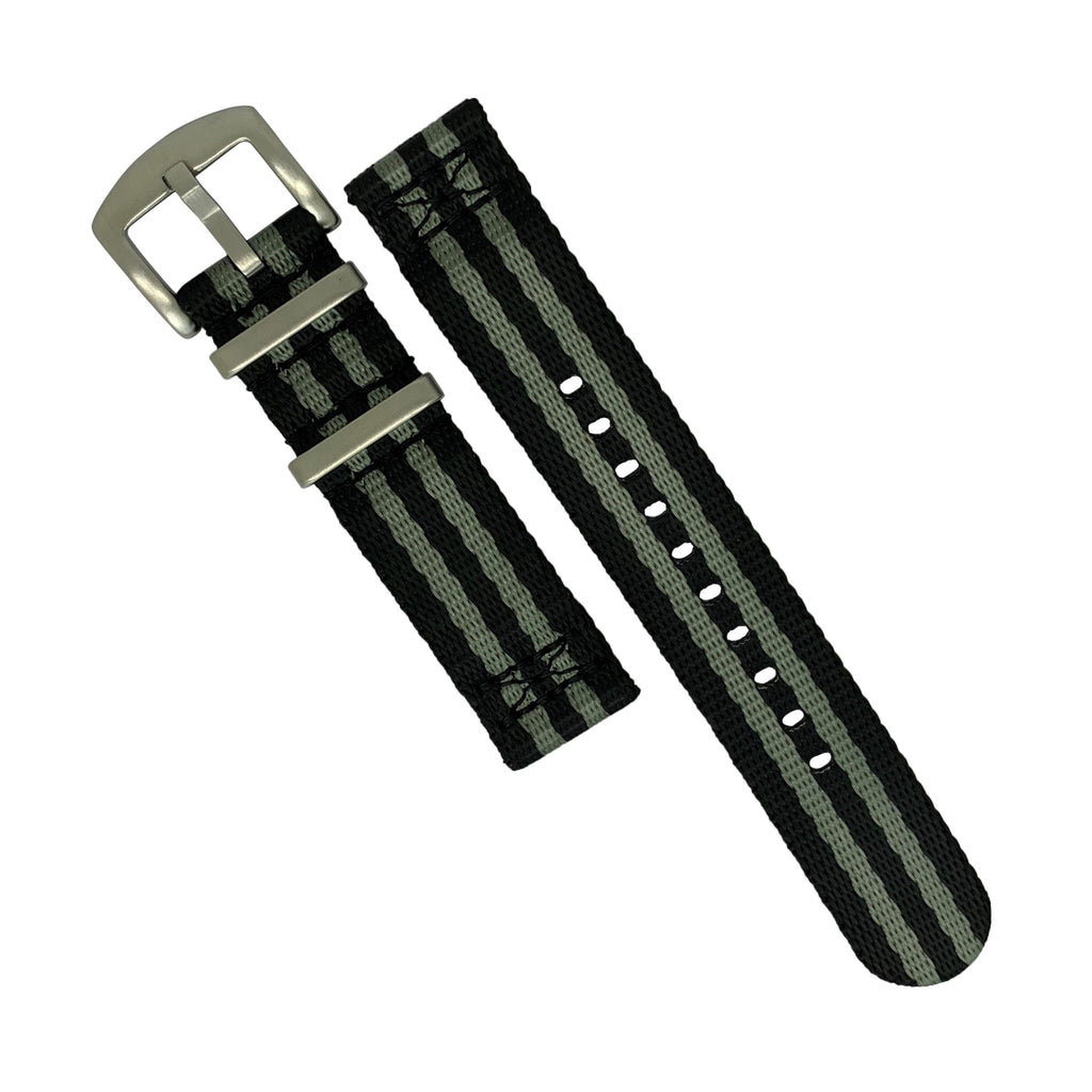 Two Piece Seat Belt Nato Strap in Black Grey (James Bond) with Brushed Silver Buckle (22mm)