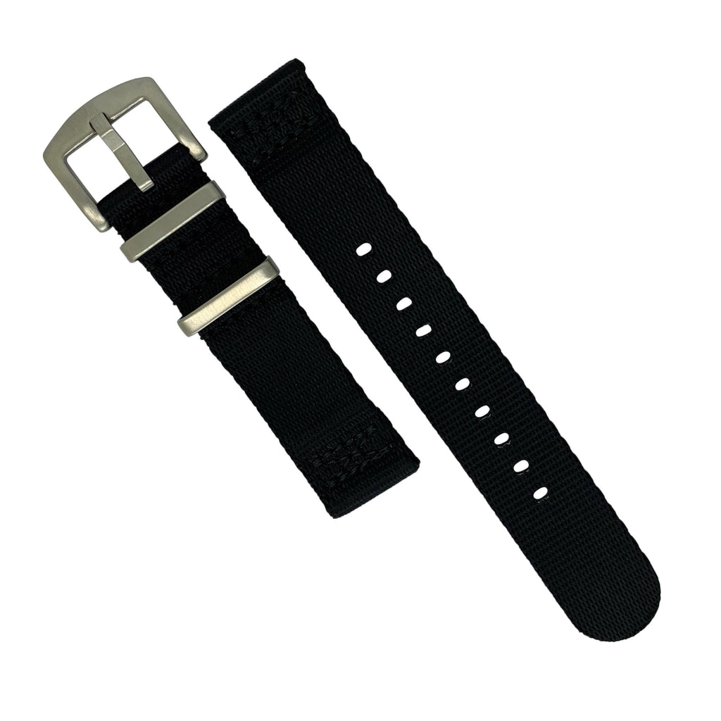 Two Piece Seat Belt Nato Strap in Black with Brushed Silver Buckle (20mm)