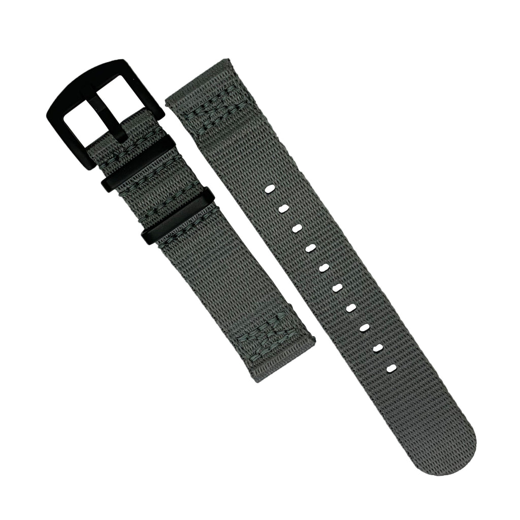 Two Piece Seat Belt Nato Strap in Grey with Black Buckle (22mm)