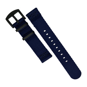 Two Piece Seat Belt Nato Strap in Navy with Black Buckle (22mm)