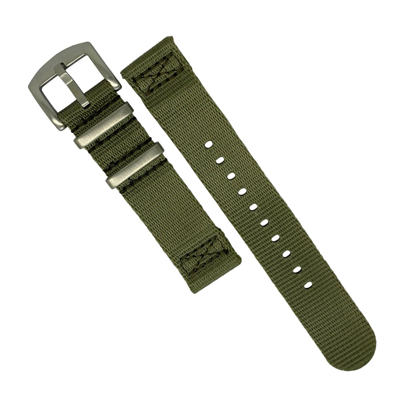 Two Piece Seat Belt Nato Strap in Olive with Brushed Silver Buckle (20mm)