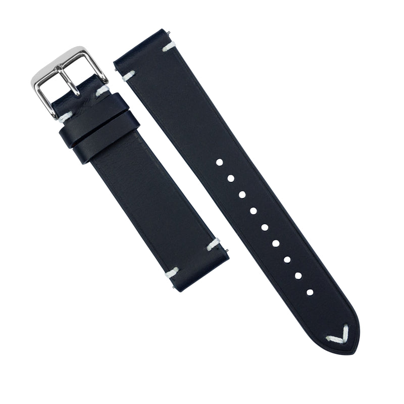 Emery Vintage Buttero Leather Strap in Navy (22mm)