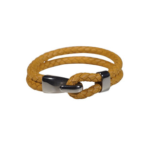 Oxford Leather Bracelet in Yellow (Size L)