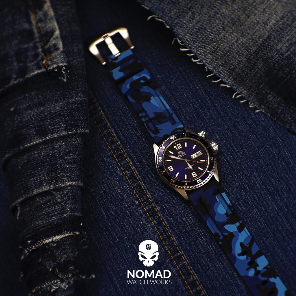 V3 Silicone Strap in Blue Camo (22mm)