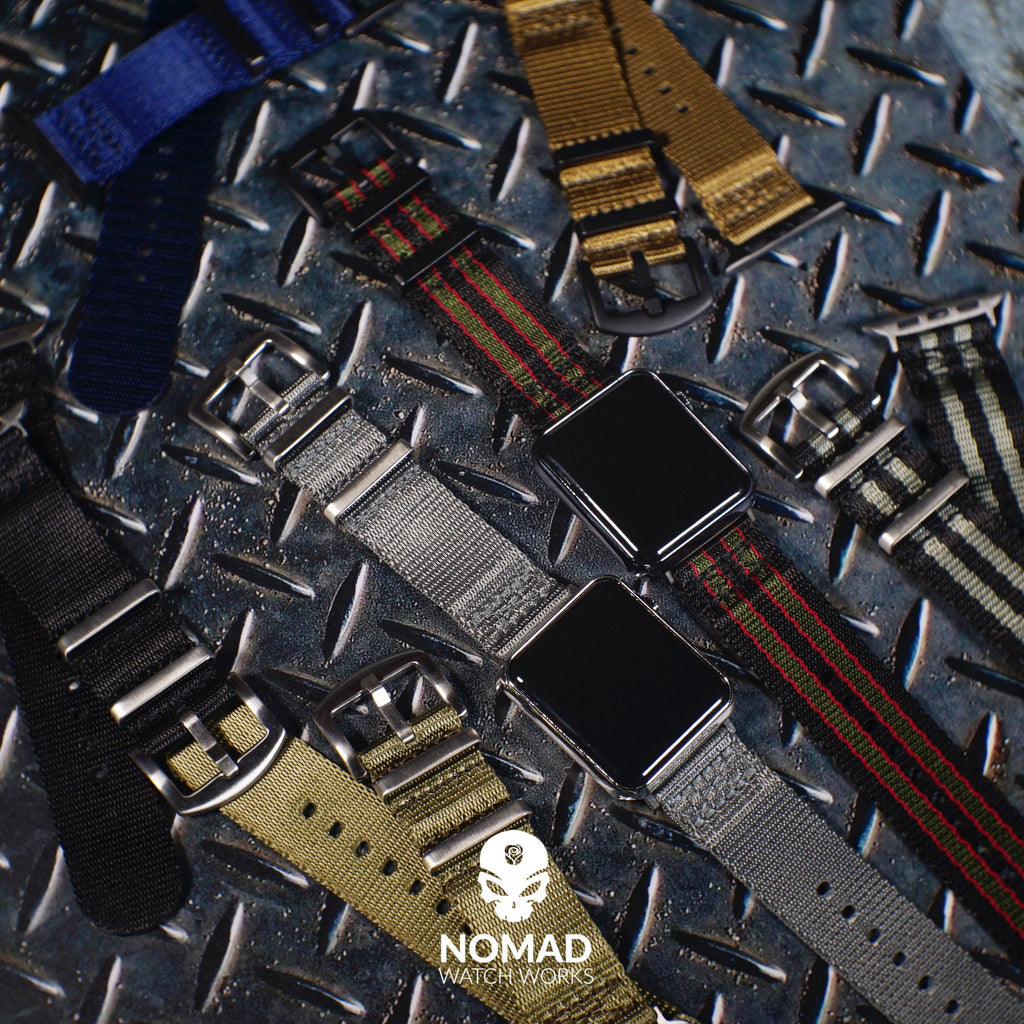 Apple Watch Seat Belt Nato Strap in Black Grey (James Bond) with Silver Buckle (42 & 44mm) - Nomad watch Works