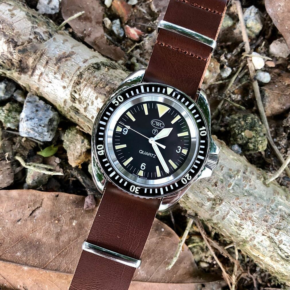 Premium Leather Nato Strap in Brown with Silver Buckle (22mm)