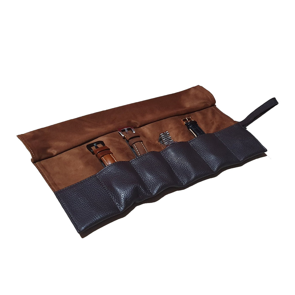 Leather Watch Roll in Brown (6 Watch Slots)