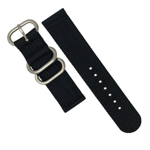 Two Piece Heavy Duty Zulu Strap in Black with Silver Buckle (20mm)