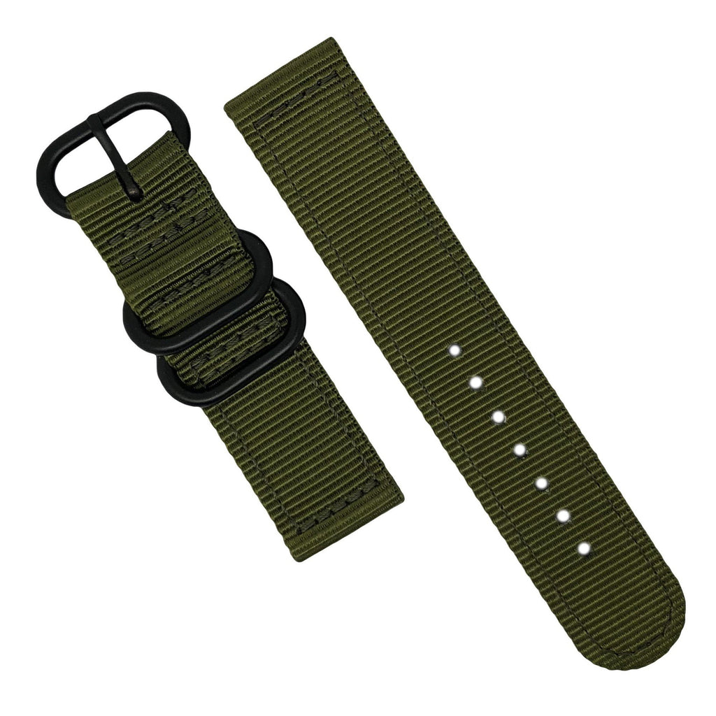 Two Piece Heavy Duty Zulu Strap in Olive with PVD Black Buckle (22mm)