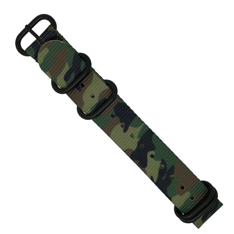 Heavy Duty Zulu Strap in Green Camo with PVD Black Buckle (20mm) - Nomad watch Works