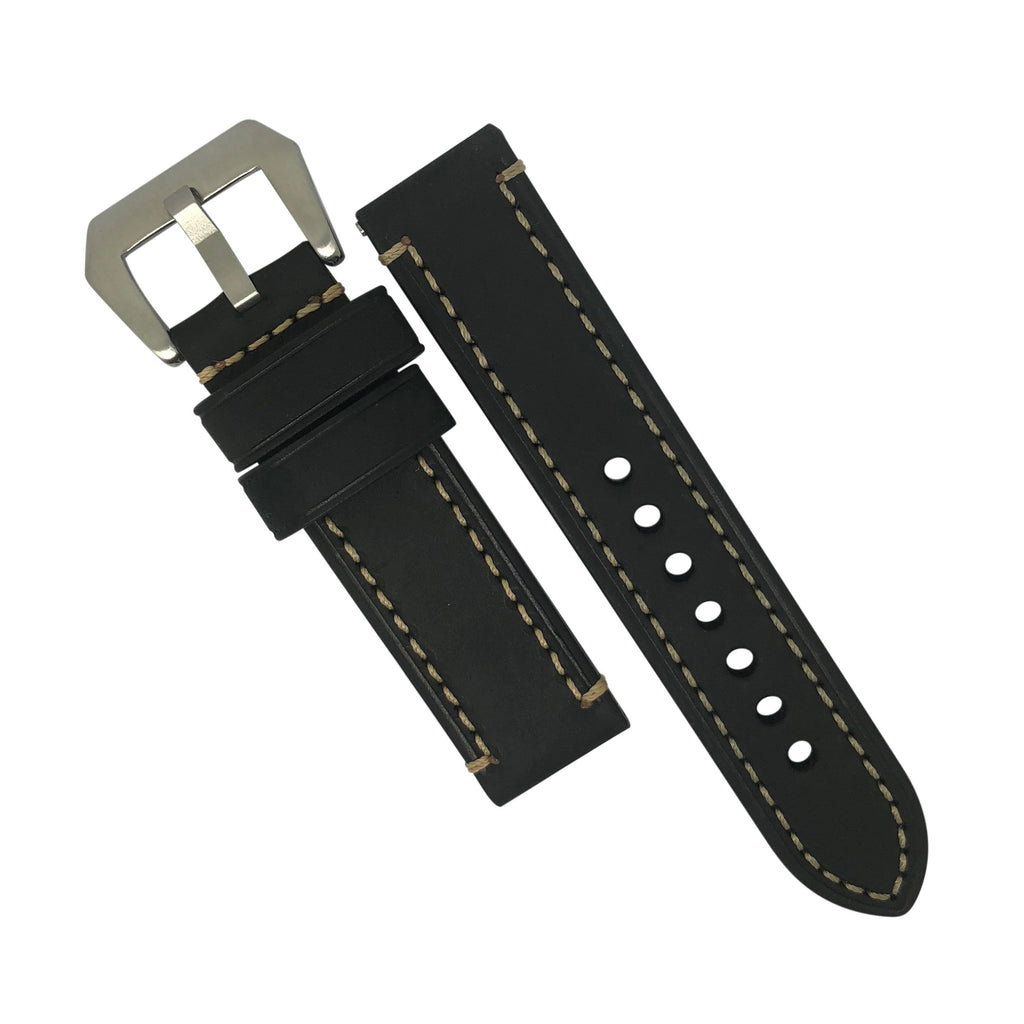 M1 Vintage Leather Watch Strap in Black with Pre-V Silver Buckle (20mm) - Nomad watch Works