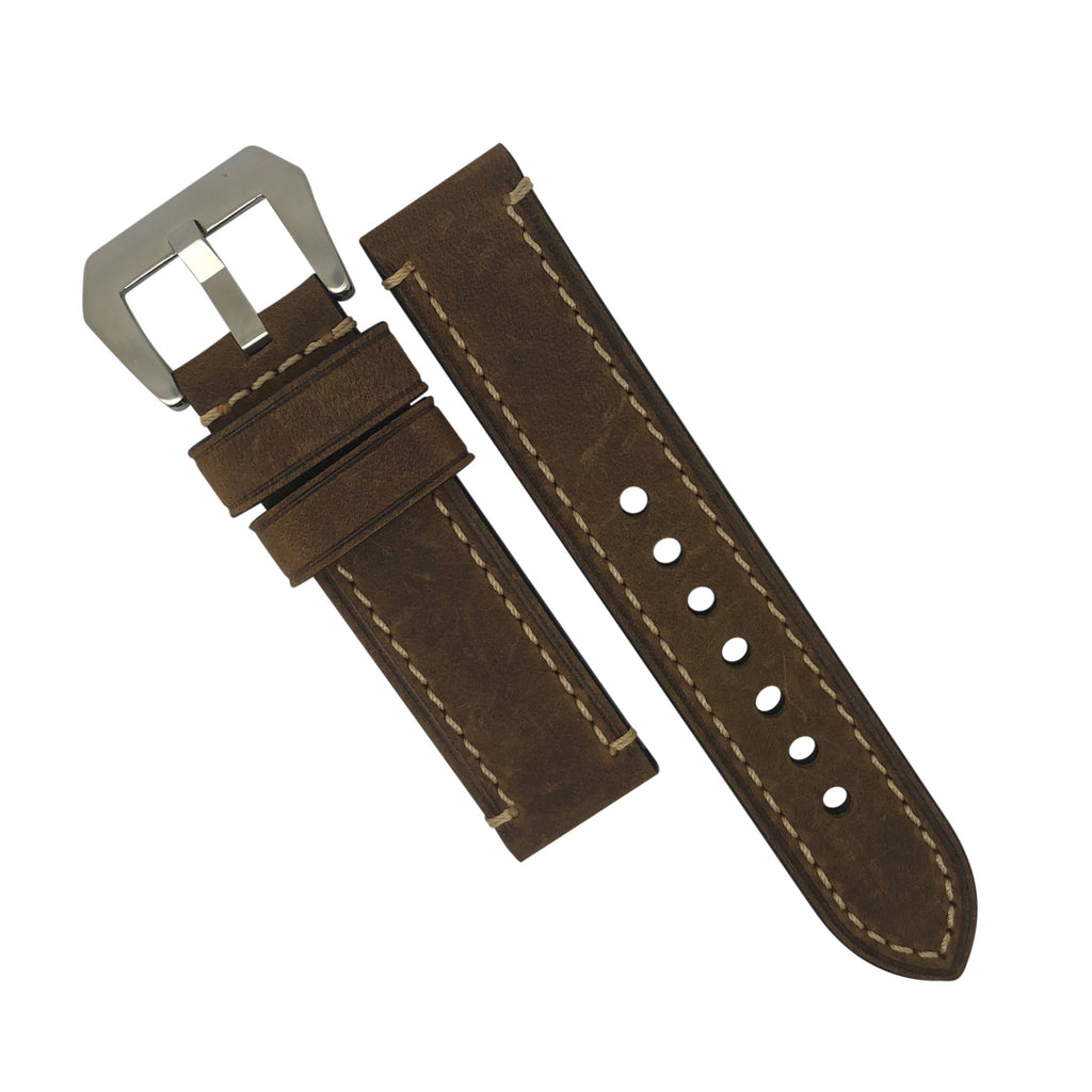 M1 Vintage Leather Watch Strap in Brown with Pre-V Silver Buckle (20mm) - Nomad watch Works
