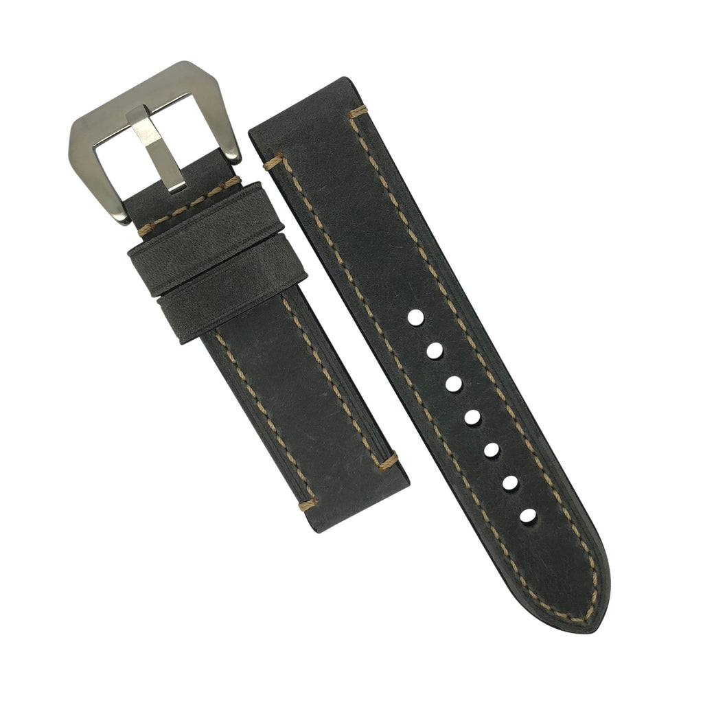 M1 Vintage Leather Watch Strap in Grey with Pre-V Silver Buckle (26mm) - Nomad watch Works