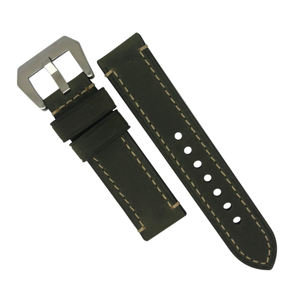 M1 Vintage Leather Watch Strap in Olive with Pre-V Silver Buckle (26mm) - Nomad watch Works