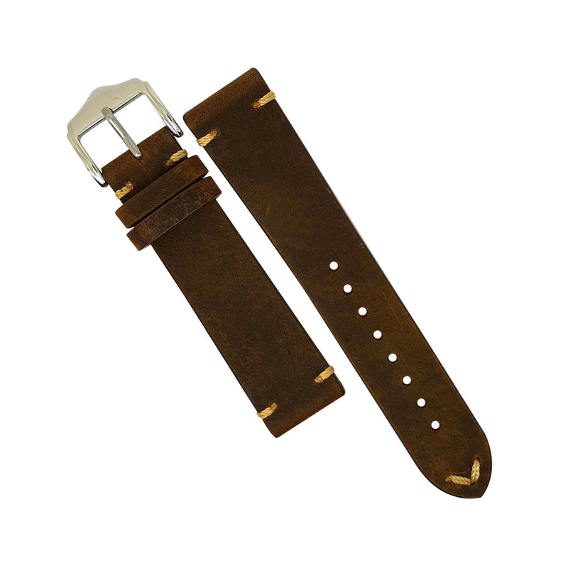 Premium Vintage Calf Leather Watch Strap in Rustic Tan (22mm)