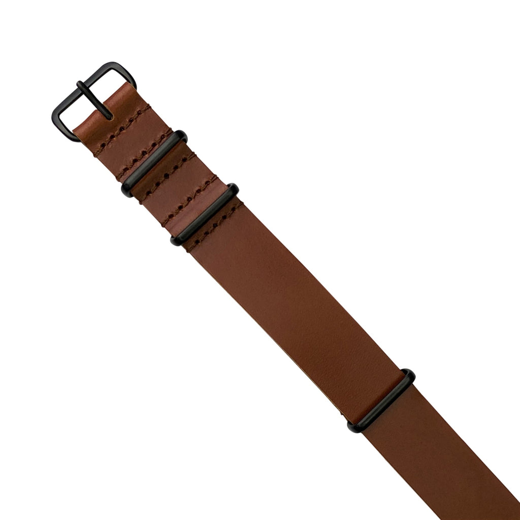 Premium Leather Nato Strap in Tan with Black Buckle (22mm)