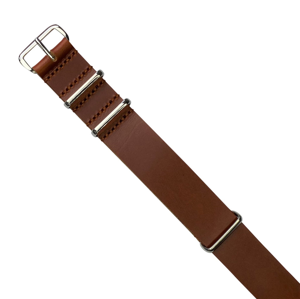 Premium Leather Nato Strap in Tan with Silver Buckle (22mm)