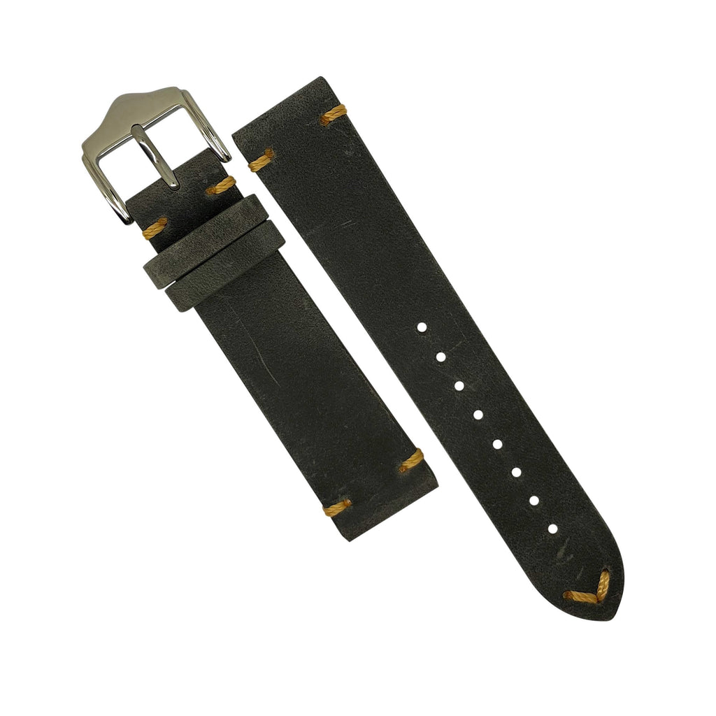 Premium Vintage Calf Leather Watch Strap in Grey (22mm)