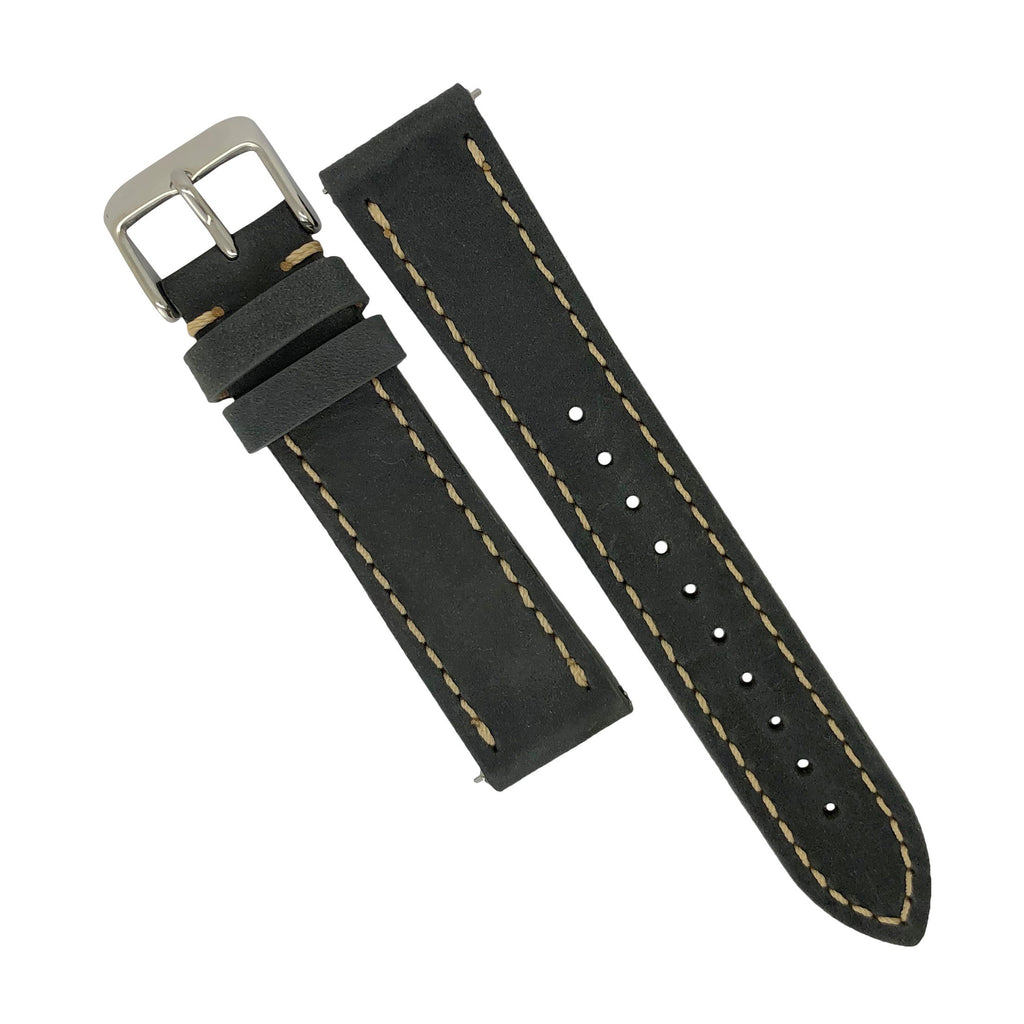 Quick Release Modern Leather Watch Strap in Grey (22mm)