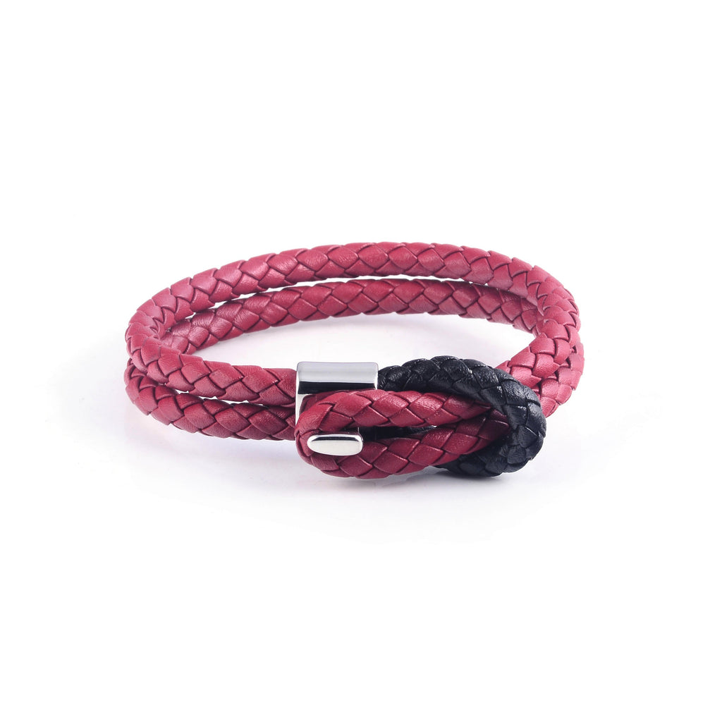 Maison Leather Bracelet in Red with Black Loop (Size L)