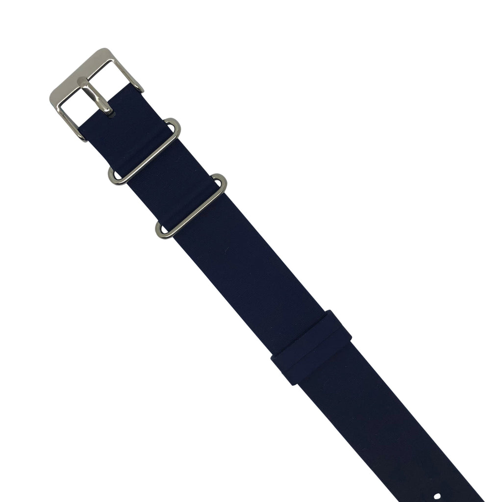 Rubber Nato Strap in Navy with Silver Buckle (20mm) - Nomadstore Singapore