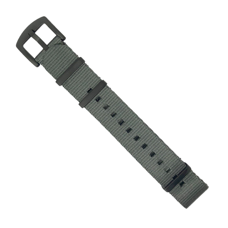 Seat Belt Nato Strap in Grey with Black Buckle (20mm)