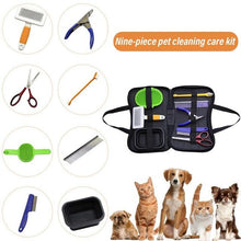 Load image into Gallery viewer, 9PCS Cat Dog Cleaning Care Set - Steel Comb - Nail Scissors - Flea Comb