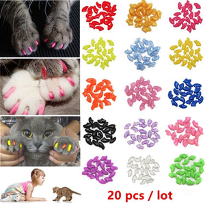 20 pcs Soft Silicone Soft Cat Nail Caps Colorful Cat Paw Claw Pet Nail Protector