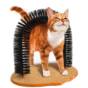 Pet Cat Self Groomer With Round Fleece Base