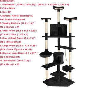 Cat Luxury Furniture 36-80 Inches Pet Cat Tree Tower Climbing Shelf