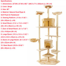 Load image into Gallery viewer, Cat Luxury Furniture 36-80 Inches Pet Cat Tree Tower Climbing Shelf