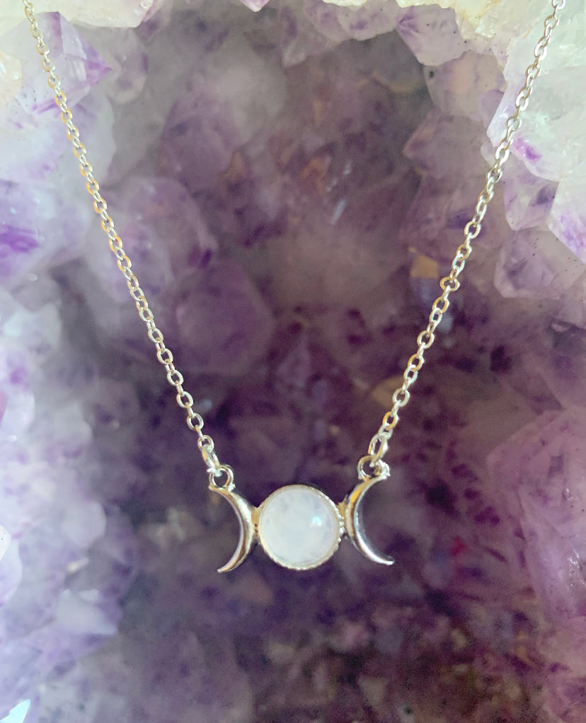 Triple Moon Goddess Necklace - Rose Quartz