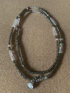 Hematite + Glass Crystal Waist Beads
