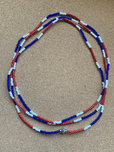 Red,White, and Blue Waist Beads - Double