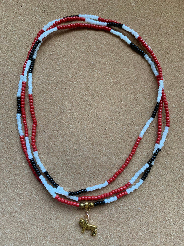 Red, White, and Black Leo Waist Beads - Double