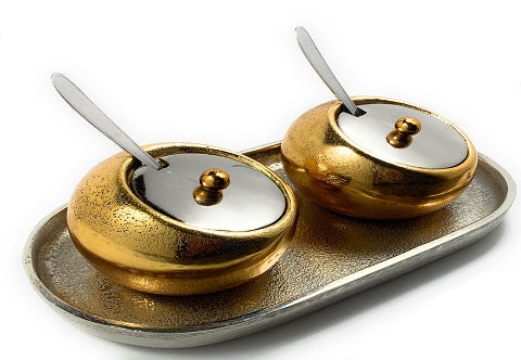 Mini Golden Condiments with spoons - geega-home-decor
