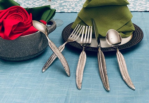 Feather Handle Silverware Set of 5