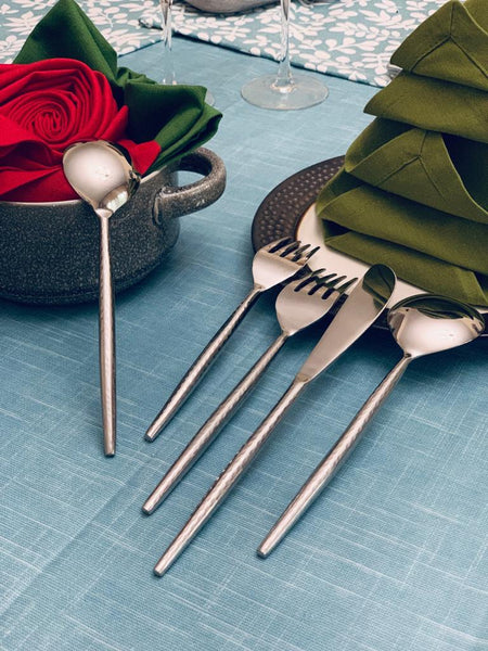 Silver Hammered Handle cutlery set of 30 - geega-home-decor