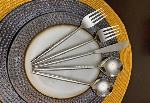 Silver Hammered Handle cutlery set of 30